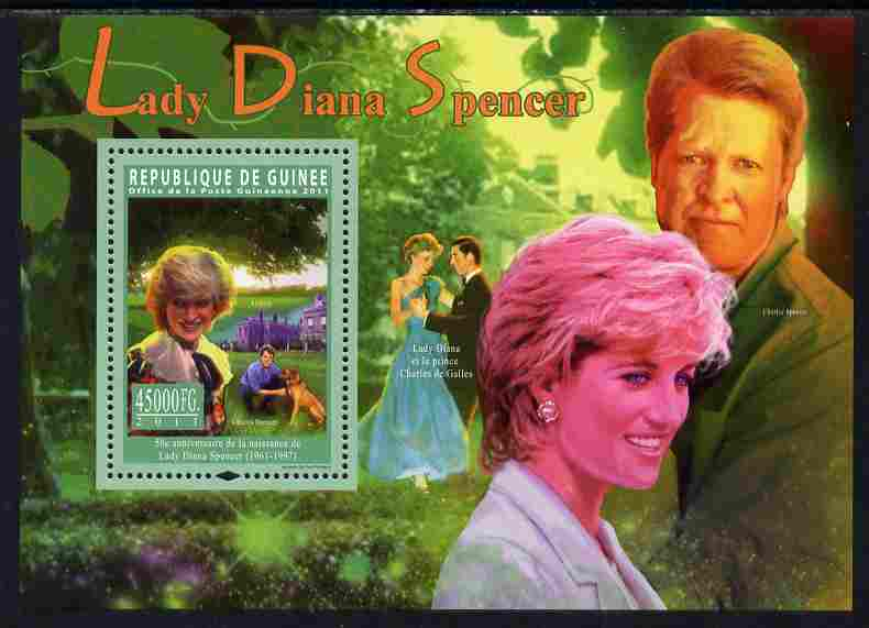 Guinea - Conakry 2011 50th Birth Anniversary of Princess Diana perf s/sheet unmounted mint, stamps on personalities, stamps on royalty, stamps on diana, stamps on