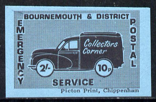 Cinderella - Great Britain 1971 Bournemouth & District Emergency Postal Service 'Collectors Corner Morris Van' dual value 2s - 10p in black on blue paper unmounted mint