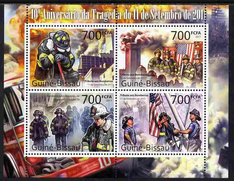 Guinea - Bissau 2011 Tenth Anniversary of 9/11 Tragedy perf sheetlet containing 4 values unmounted mint