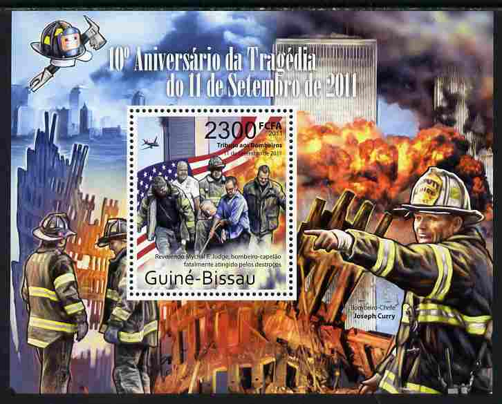 Guinea - Bissau 2011 Tenth Anniversary of 9/11 Tragedy perf s/sheet unmounted mint