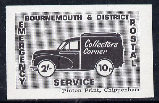 Cinderella - Great Britain 1971 Bournemouth & District Emergency Postal Service 'Collectors Corner Morris Van' dual value 2s - 10p in black on blue white unmounted mint