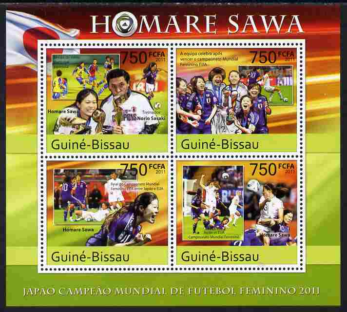 Guinea - Bissau 2011 Homare Sawa - football perf sheetlet containing 4 values unmounted mint