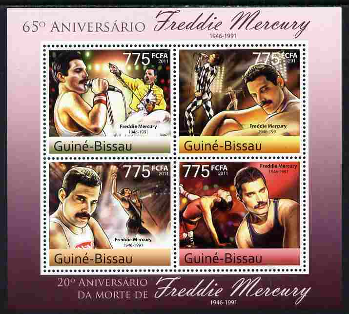 Guinea - Bissau 2011 65th Birth Anniversary of Freddie Mercury perf sheetlet containing 4 values unmounted mint