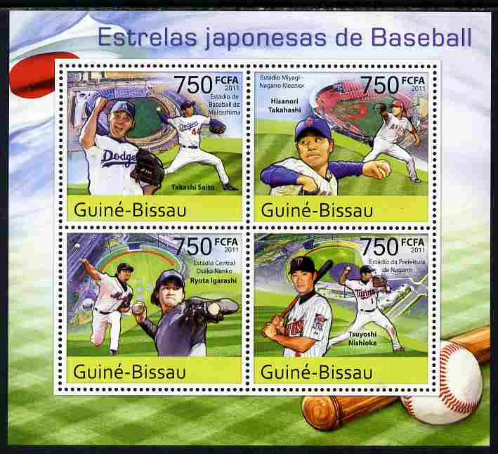 Guinea - Bissau 2011 Japanese Baseball Stars perf sheetlet containing 4 values unmounted mint