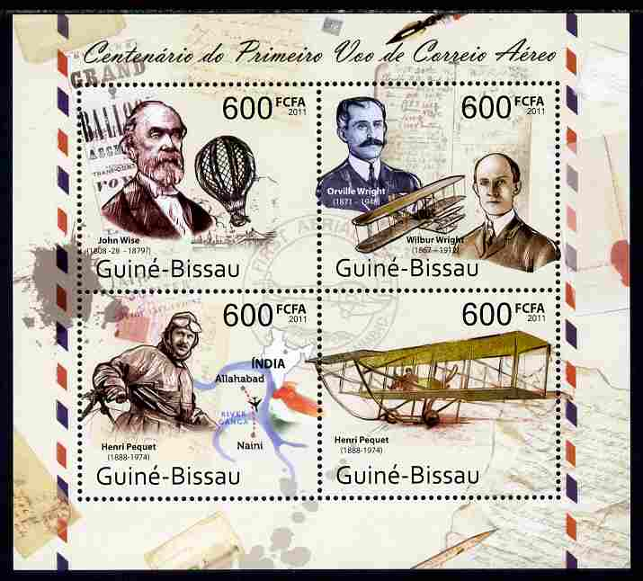 Guinea - Bissau 2011 Centenary of First Airmail Flight perf sheetlet containing 4 values unmounted mint