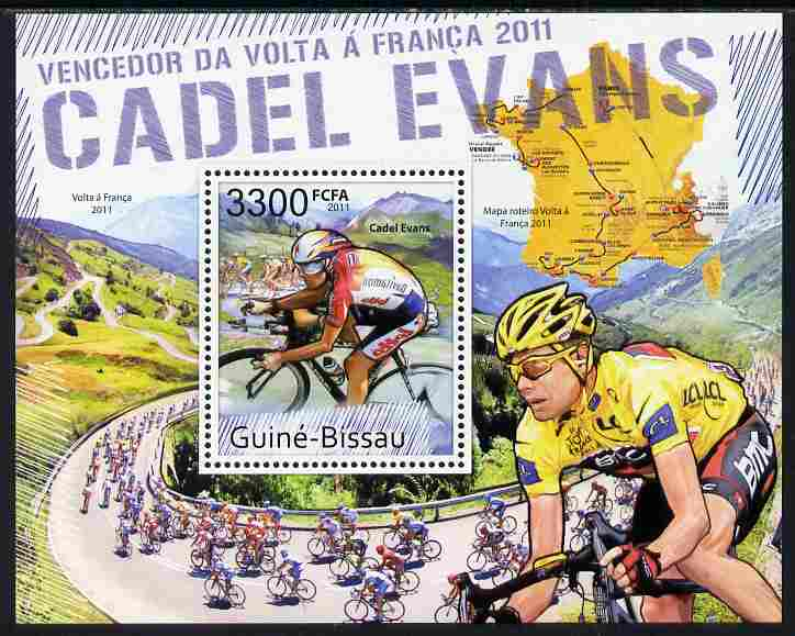 Guinea - Bissau 2011 Cadel Evans - Winner of Tour de France Cycle Race perf s/sheet unmounted mint