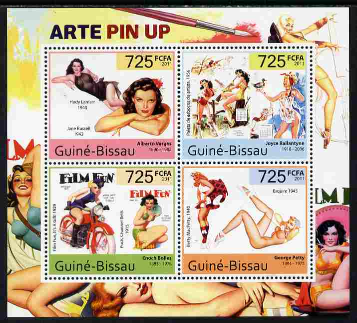 Guinea - Bissau 2011 Pin Up Art perf sheetlet containing 4 values unmounted mint