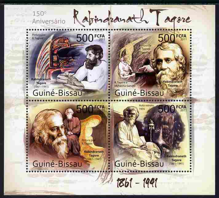 Guinea - Bissau 2011 150th Birth Anniversary of Rabindranath Tagore (poet) perf sheetlet containing 4 values unmounted mint
