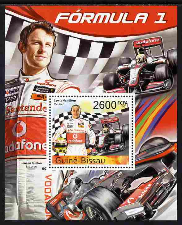 Guinea - Bissau 2011 Formula 1 - Lewis Hamilton perf s/sheet unmounted mint