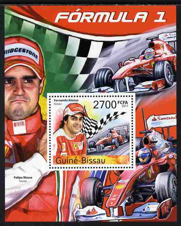 Guinea - Bissau 2011 Formula 1 - Fernando Alonso perf s/sheet unmounted mint
