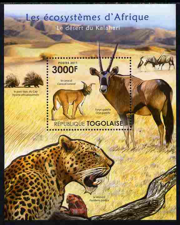 Togo 2011 Ecosystem of Africa - Animals of the Kalahari Desert perf s/sheet unmounted mint