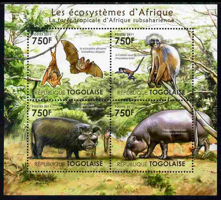 Togo 2011 Ecosystem of Africa - Animals of the Sub-Sahara Desert perf sheetlet containing 4 values unmounted mint