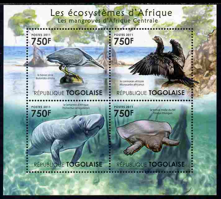 Togo 2011 Ecosystem of Africa - Animals of the Central Mangrove perf sheetlet containing 4 values unmounted mint
