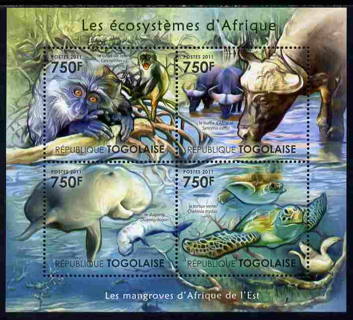 Togo 2011 Ecosystem of Africa - Animals of the East Mangrove perf sheetlet containing 4 values unmounted mint