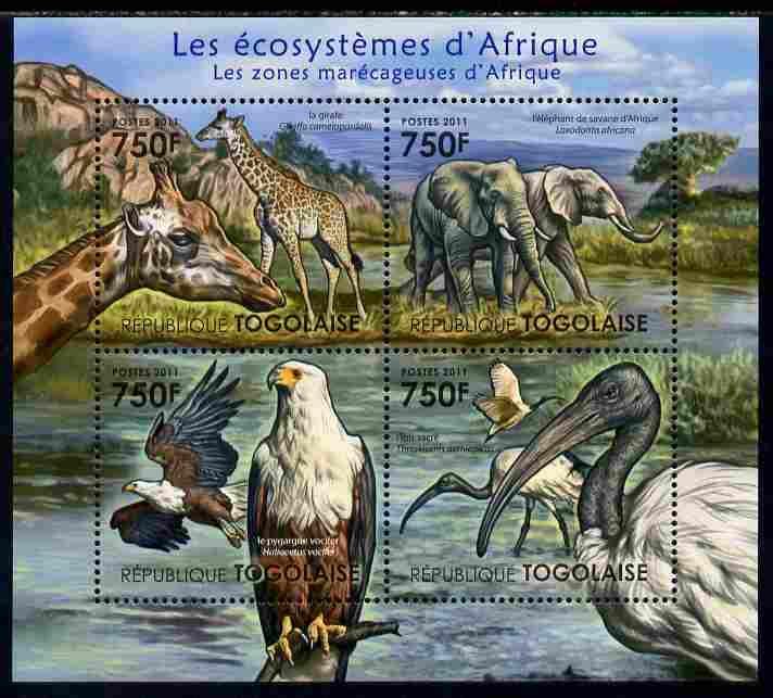 Togo 2011 Ecosystem of Africa - Animals of the Swampy Areas perf sheetlet containing 4 values unmounted mint