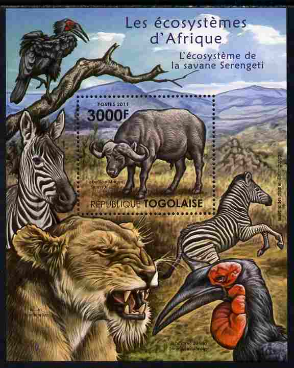 Togo 2011 Ecosystem of Africa - Animals of the Serengeti perf s/sheet unmounted mint