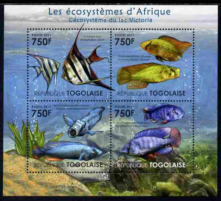 Togo 2011 Ecosystem of Africa - Animals of the Lake Victoria perf sheetlet containing 4 values unmounted mint
