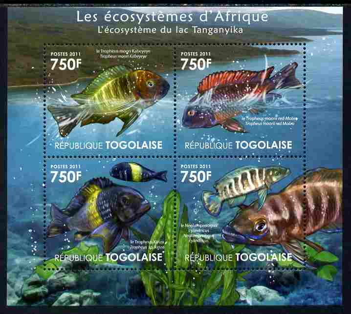 Togo 2011 Ecosystem of Africa - Animals of the Lake Tanganyika perf sheetlet containing 4 values unmounted mint