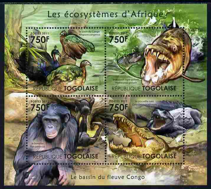Togo 2011 Ecosystem of Africa - Animals of the River Congo perf sheetlet containing 4 values unmounted mint