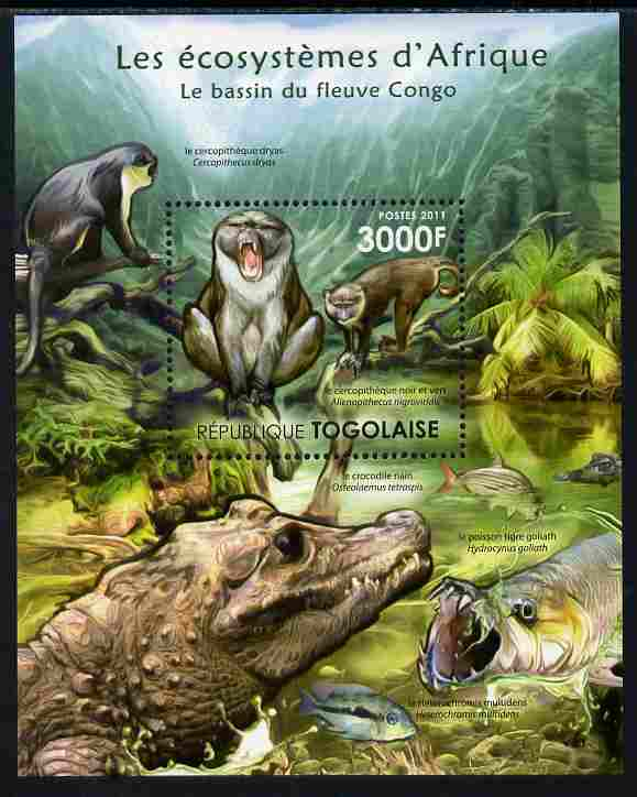 Togo 2011 Ecosystem of Africa - Animals of the River Congo perf s/sheet unmounted mint