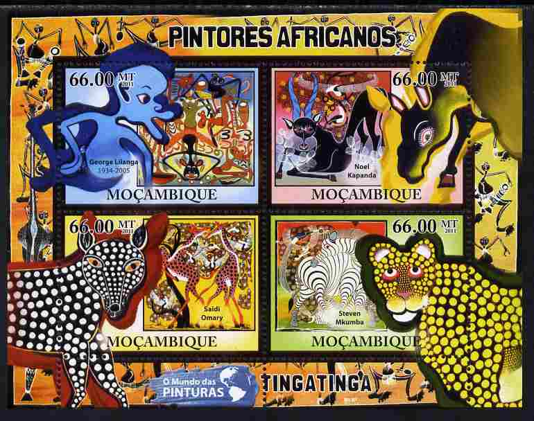Mozambique 2011 African Paintings perf sheetlet containing 4 values unmounted mint