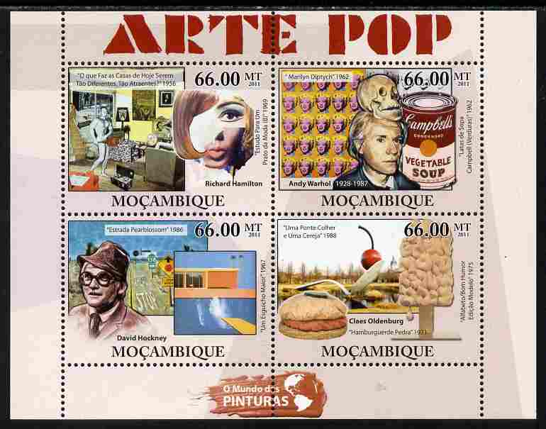 Mozambique 2011 Pop Art Paintings perf sheetlet containing 4 values unmounted mint