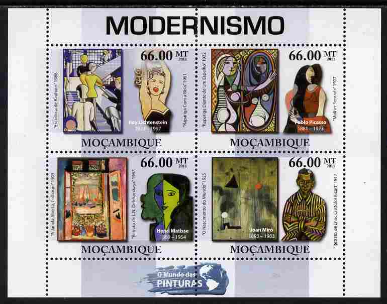 Mozambique 2011 Modernist Paintings perf sheetlet containing 4 values unmounted mint