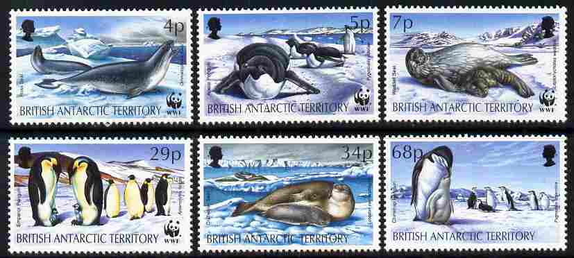 British Antarctic Territory 1992 WWF - Seals & Penguins perf set of 6 unmounted mint SG 208-13