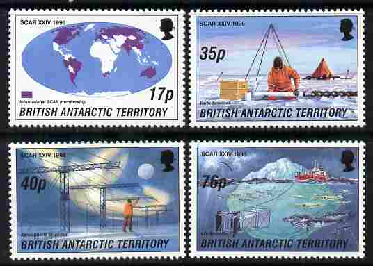 British Antarctic Territory 1996 Scientific Committee on Antarctic Research perf set of 4 unmounted mint SG 260-63