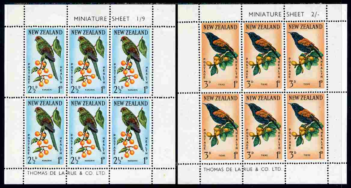 New Zealand 1962 Health - Birds set of 2 m/sheets unmounted mint, SG MS 813b