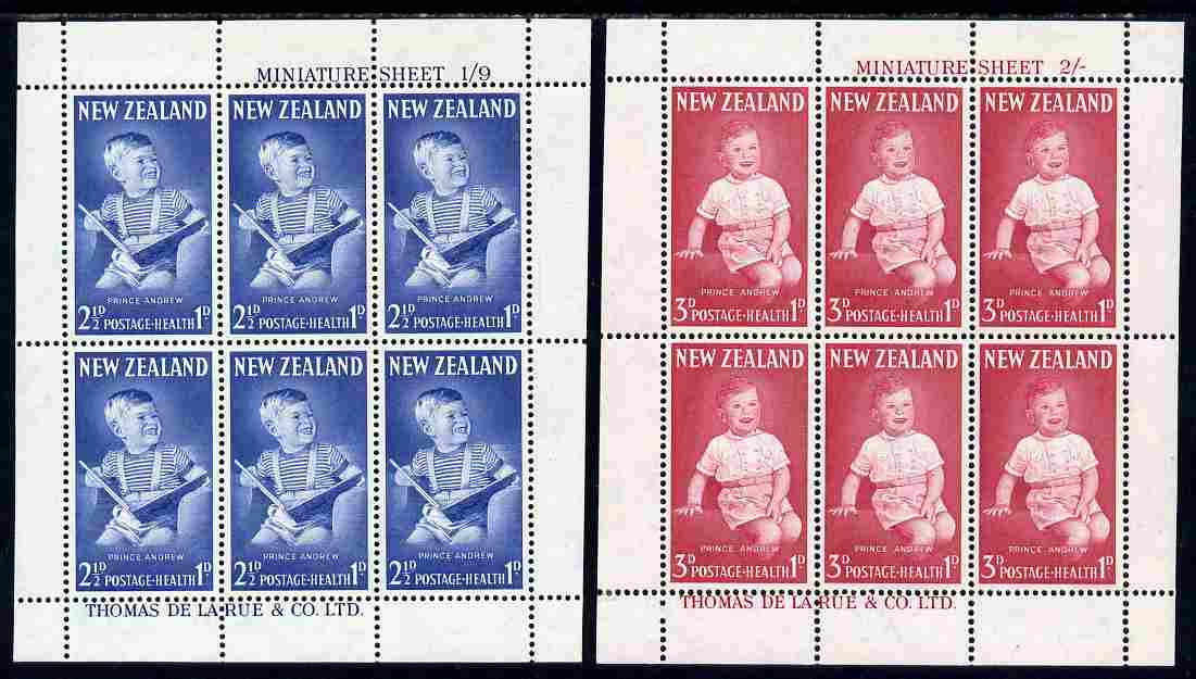 New Zealand 1963 Health - Prince Andrew perf set of 2 m/sheets unmounted mint, SG MS 816a