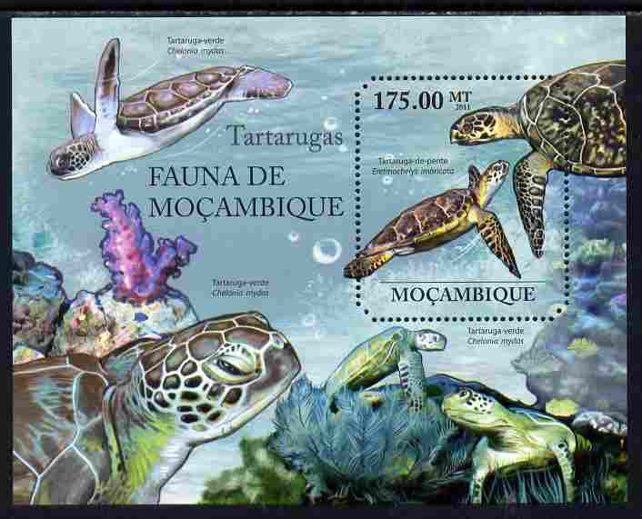 Mozambique 2011 Turtles perf m/sheet containing octagonal shaped value unmounted mint
