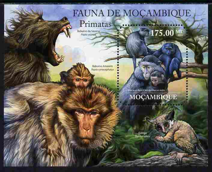 Mozambique 2011 Primates perf m/sheet containing octagonal shaped value unmounted mint