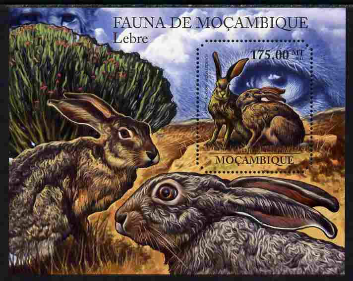 Mozambique 2011 Hares perf m/sheet containing octagonal shaped value unmounted mint