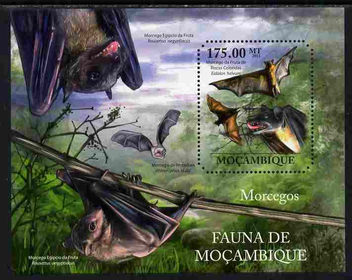 Mozambique 2011 Bats perf m/sheet containing octagonal shaped value unmounted mint