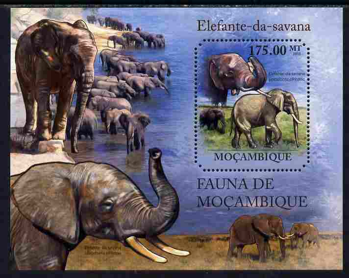 Mozambique 2011 Elephants perf m/sheet containing octagonal shaped value unmounted mint