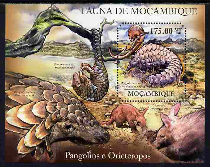 Mozambique 2011 Pangolins & Aardvarks perf m/sheet containing octagonal shaped value unmounted mint