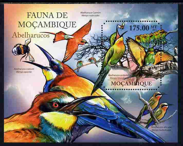 Mozambique 2011 Bee Eaters perf m/sheet containing octagonal shaped value unmounted mint