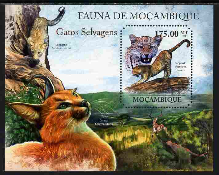 Mozambique 2011 Wild Cats perf m/sheet containing octagonal shaped value unmounted mint