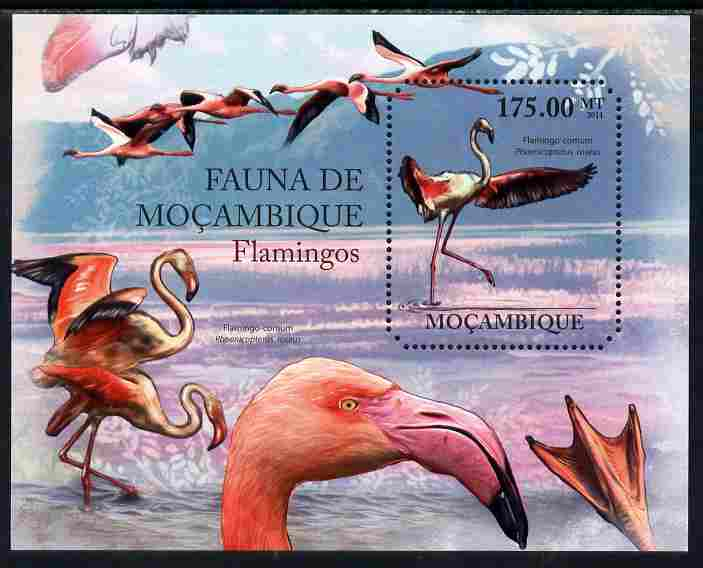 Mozambique 2011 Flamingos perf m/sheet containing octagonal shaped value unmounted mint, stamps on shaped, stamps on birds, stamps on flamingos
