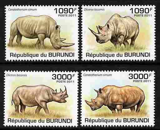 Burundi 2011 Rhinos perf set of 4 values unmounted mint