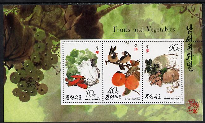 North Korea 1993 Fruit & Vegetables m/sheet #1 (10w, 40w & 60w values) unmounted mint