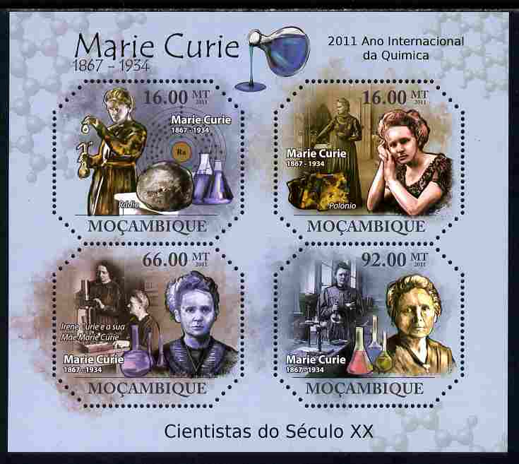 Mozambique 2011 Marie Curie perf sheetlet containing four octagonal shaped values unmounted mint