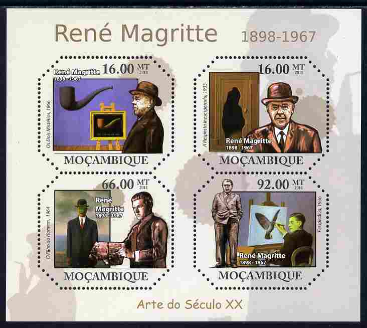 Mozambique 2011 Paintings of Rene Magritte perf sheetlet containing four octagonal shaped values unmounted mint