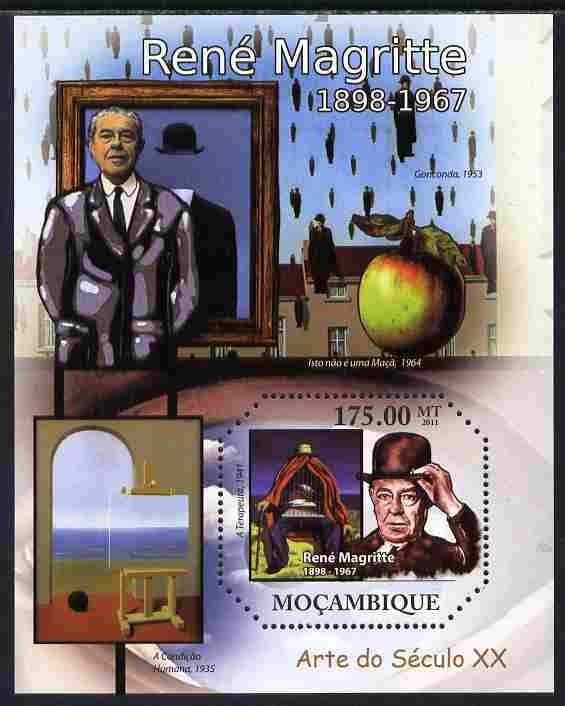Mozambique 2011 Paintings of Rene Magritte perf s/sheet containing octagonal shaped value unmounted mint