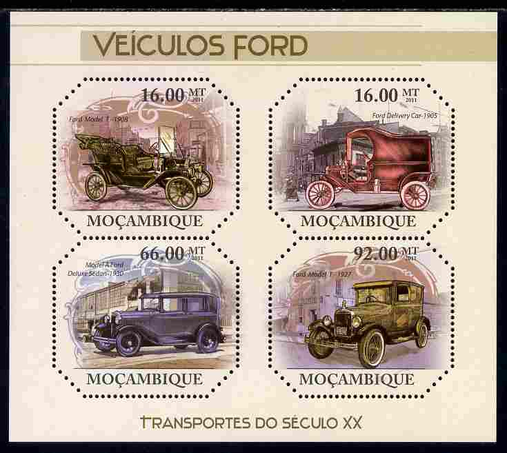 Mozambique 2011 Vintage Ford Cars perf sheetlet containing four octagonal shaped values unmounted mint