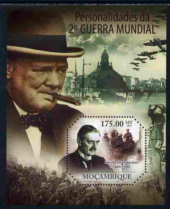 Mozambique 2011 Personalities of WW2 perf s/sheet containing octagonal shaped value unmounted mint