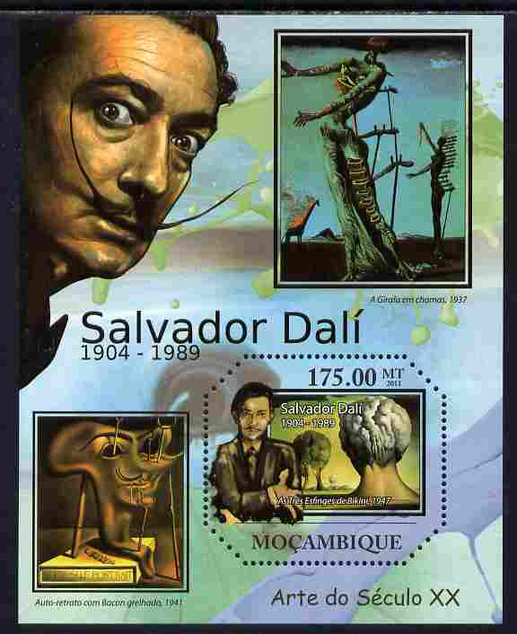 Mozambique 2011 Paintings by Salvador Dali perf s/sheet containing octagonal shaped value unmounted mint