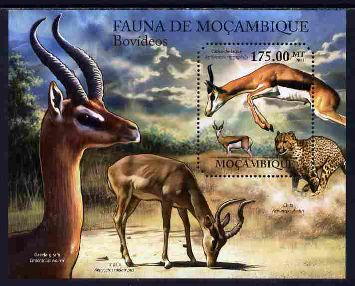 Mozambique 2011 Antelopes perf s/sheet containing octagonal shaped value unmounted mint