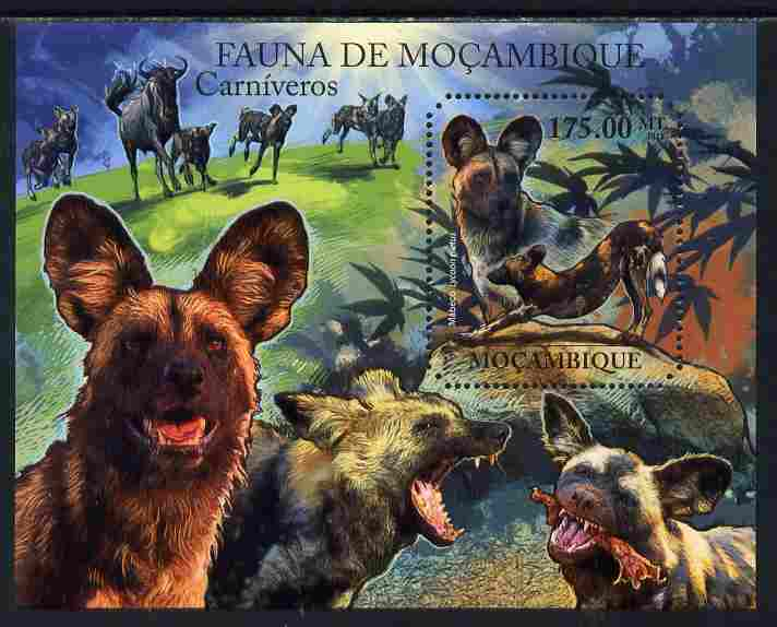 Mozambique 2011 African Wild Dog perf s/sheet containing octagonal shaped value unmounted mint